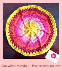 crochet sun wheel mandala, crochet mandala