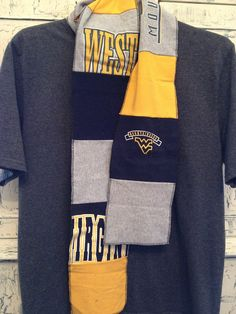 West Virginia Mountaineers upcycled unisex t-shirt scarf multicolor patchwork AX. $40.00, via Etsy.