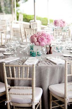 Gorgeous pink  grey wedding reception tables. #wedding #decorations