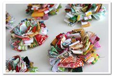 hand, scrap crafts, idea, fabric flowers, diy collect, ribbon bows, scrap flower, fabric scraps, fabric ribbon
