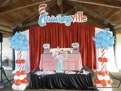 Cat In The Hat / Dr Seuss balloon accent pieces  www.BrassTacksEvents.com