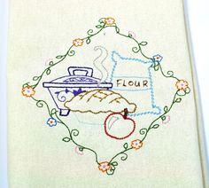 Machine Embroidery Dish Kitchen Towel Vintage Apple Pie Design