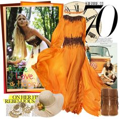 Going to a 70's themed party, created by rebeccakmr on Polyvore long hair, outfit, the dress, bohemian clothing, belt, fairi, forest, bohemian style, hippie fashion