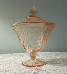 Pink depression glass covered candy dish