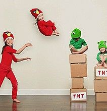 Haha This is cute! The father of these little girls' decided to use photoshop to create his own angry birds scene. =)