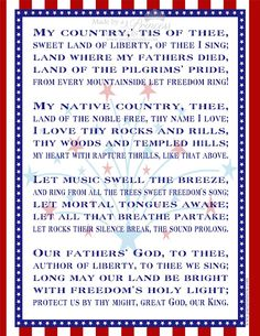 FREE PRINTABLE: My Country Tis of Thee   Made By a Princess Parties in Style