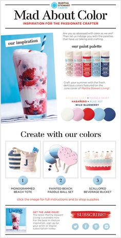 super cute summer DIYs inspired by @Martha Stewart Living including these 3 projects - click thru for the project how to and to see the paint colors   #marthastewart #marthastewartcrafts #plaidcrafts #diy #crafts #madaboutcolor