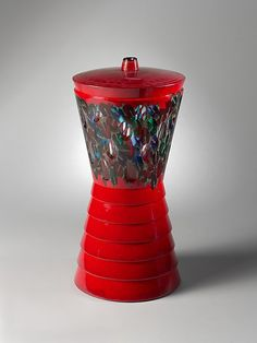 """Murrine rosse - Caledoscopio N.3""  -- Glass Vase --  Yoichi Ohira  (Japanese, born 1946)"