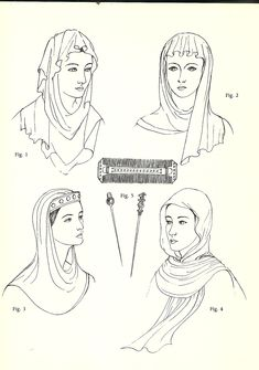 Anglo-Saxon (600 - 1154): Simple Veils, Head-tires, Combs, and Pin