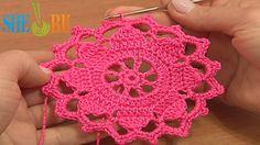 Crochet Wide Lace Tape Tutorial 7 Part 1 of 2 Crochet Rund Motif