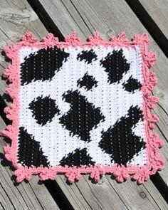 Lily Sugar'n Cream Free Pattern - Cow Dishcloth (crochet)