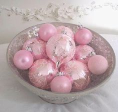 Shabby pink Christmas ornaments
