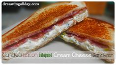 Candied Bacon Jalapeno Cream Cheese & Parmigiano-Reggiano Sandwich | Dreaming All Day