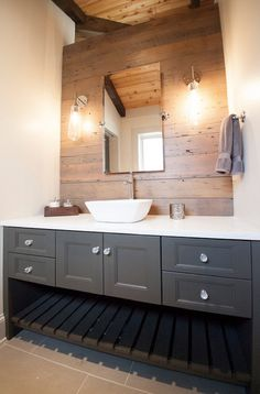 Lucy and Company: Gorgeous bathroom design with rustic wood planked vanity wall and extra-wide gray ...