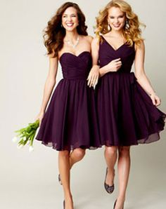 purple bridesmaid dresses. I like the flow of it and the styling on the right.