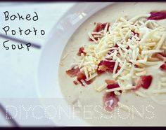 Baked Potato Soup. Delicious and Easy! Recipe uses a crock pot/slow cooker. Perfect Fall soup OR comfort food! #CrockPotMonday