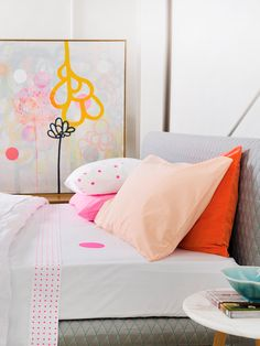 happy decor with vibrant pops of color in modern space