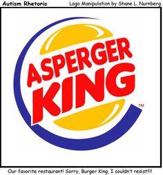 teach write, asperg syndrom, king logo, autism humor