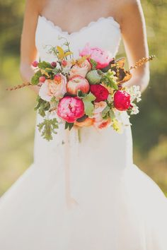 Apple Orchard Wedding Inspiration. #bright #pink #orange #spring #peonies #flowers