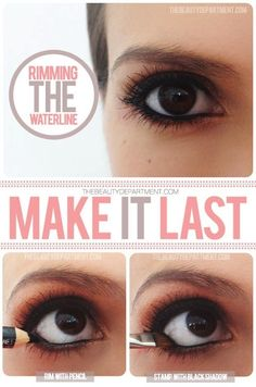 Keep your waterline eyeliner from running or disappearing during the day. put on the eyeliner then use black eyeshadow over it | 15 Easy Hacks For Perfect Eyeliner