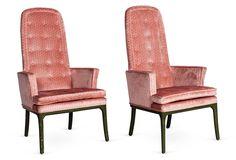 One Kings Lane - Kelly Wearstler - Pink High-Back Armchairs, Pair