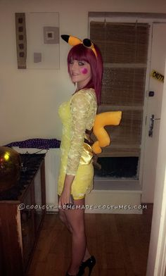 Easy Pikachu Halloween Costume... This website is the Pinterest of costumes