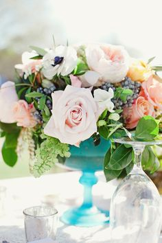 vintage glass centerpiece | The Nichols