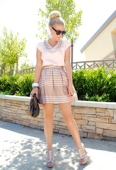 Love the embellished collar + stripe skirt!