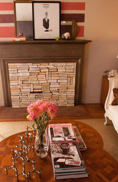 books as texture for non-functional fireplace