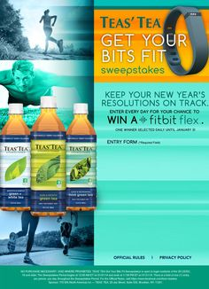 It's time to get active with TEAS' TEA®. Enter for a chance to win a @Fitbit Flex Activity Tracker. #sweeps #fitness