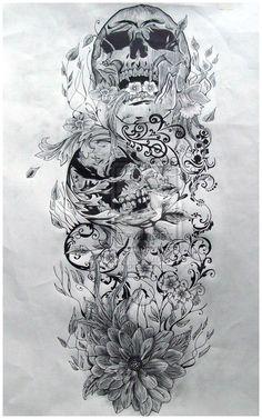 Skull Sleeve Tattoo For Girls