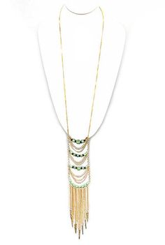 """**Coupon Code!** I'm obsessed with this amazing necklace... It's only $14.60, PLUS get 10% off your entire order & FREE shipping with discount code """"SAVE10"""" at checkout. (While supplies last.) #necklace #gold #bead #green"""
