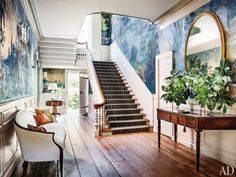 An amazing French scenic wallpaper in this Washington, D.C. entry hall.
