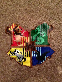 harry Potter  Hogwarts Seal Perler/Hama Beads coaster set by FangirlsAreCool