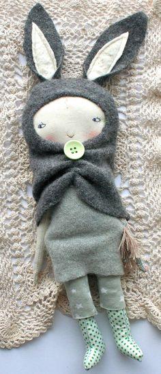 "grey rabbit pixie little lu doll 12"" - cloth doll, rag doll, grey rabbit hood, sweet light brown hair, cashmere dress, starry jumper"