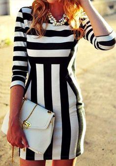 Stripe Bodycon Dress @LookBookStore