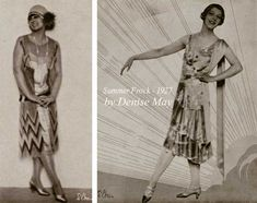 1926-summer-frocks By 1926, most spring and summer dresses were sleeveless or cap sleeved scoop-neck lightweight dresses with a  lowered waist or no waistline at all. #Downton #Fashion #Era