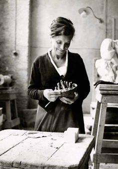 Louise Bourgeois working on Sleep II (Dream II), Italy, 1967.