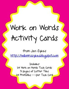My newest activity packet - 24 task cards for Work on Words with a reproducible for each task card.