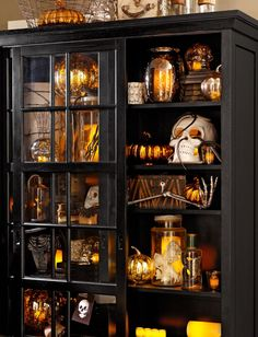 Shelf display of eerie objects from PB.