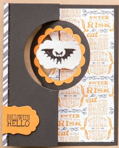 Halloween Hello card using the Stampin' Up! Thinlits card dies and the Tags 4 You stamp set
