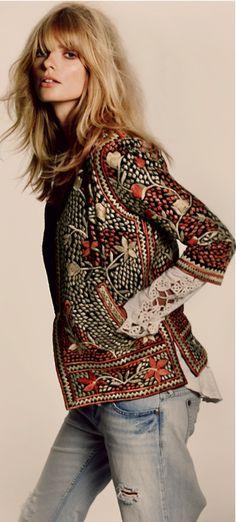 boho embroidery, embroid jacket, boho chic, pretti hair, fashion, style, embroidered jackets, ethnic jacket, embroided jacket