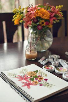 art journal, arti stuff, painting flowers, minut paint, journal inspir, art diari, paint flower, 30 minut
