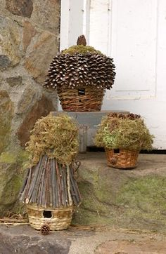 organic gardening, birdhouses, idea, basket bird, old baskets, little birds, fairy houses, fairi, bird hous