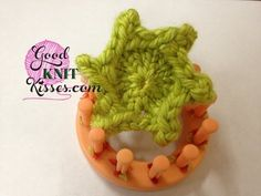Loom Knitting: Picot Star - 6 pointed flower