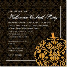 Damask Pumpkin Halloween Invitations by IB Designs - Invitation Box