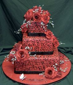 Wedding Cakes Pictures: black and red