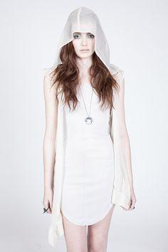 white silk hood