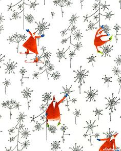 fabric - Santa's Whimsy Snowflake Forest - white