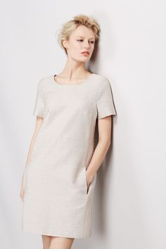 #BestofBritish Wool Blend Textured Shimmer Shift Dress
